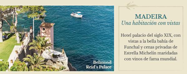 Madeira: Belmond Reid´s Palace. Hotel palacio del siglo XIX, con vistas a la bella bahía de Funchal y cenas privadas de Estrella Michelín maridadas con vinos de fama mundial.