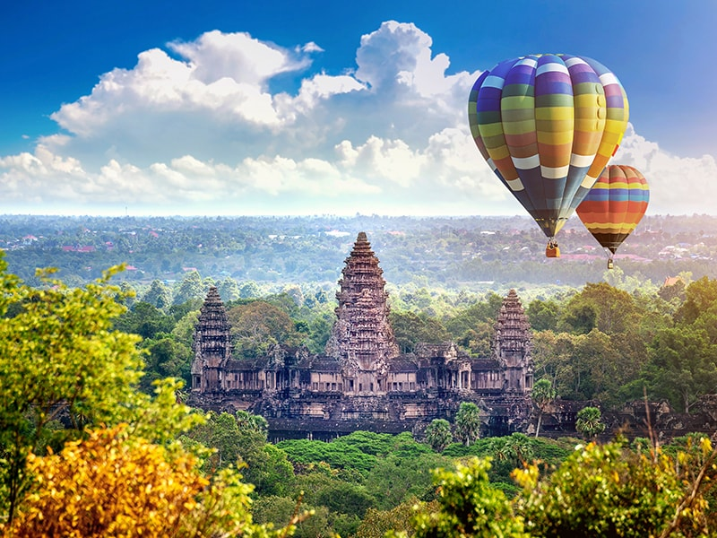 Cambodia and Laos. Ballooning over the majestic Angkor Wat