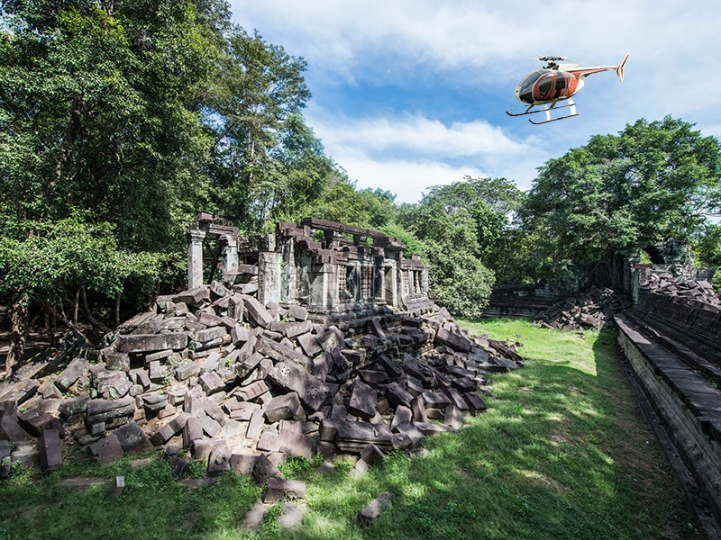Cambodia and Laos. Reach by helicopter the remote temples of Banteay Chhmar