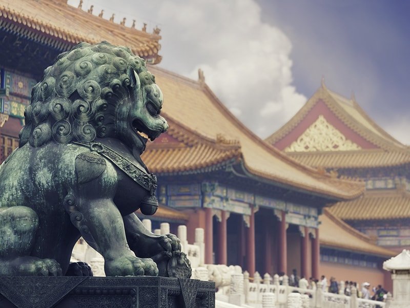 China. The majestic palaces of the Forbidden City