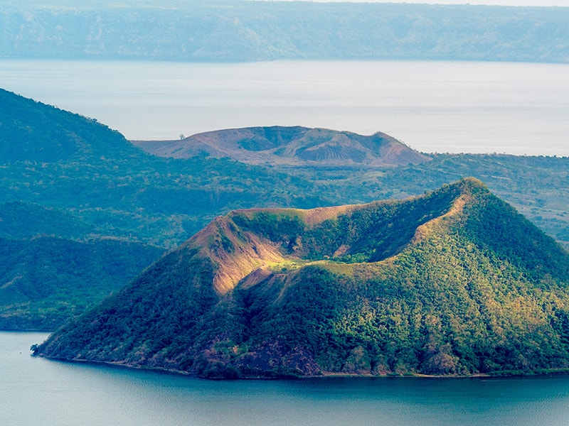 Philippines. Fly over the Taal volcano in helicopter