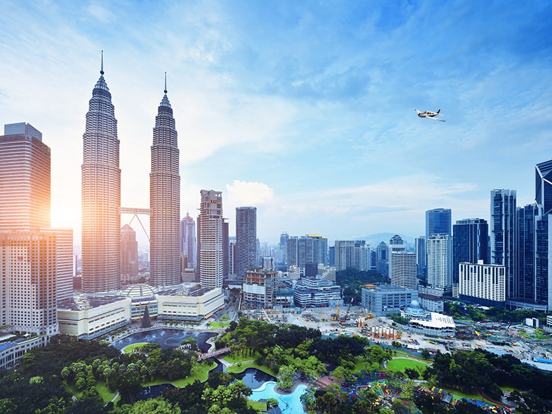 Malaysia. Fly on a small plane