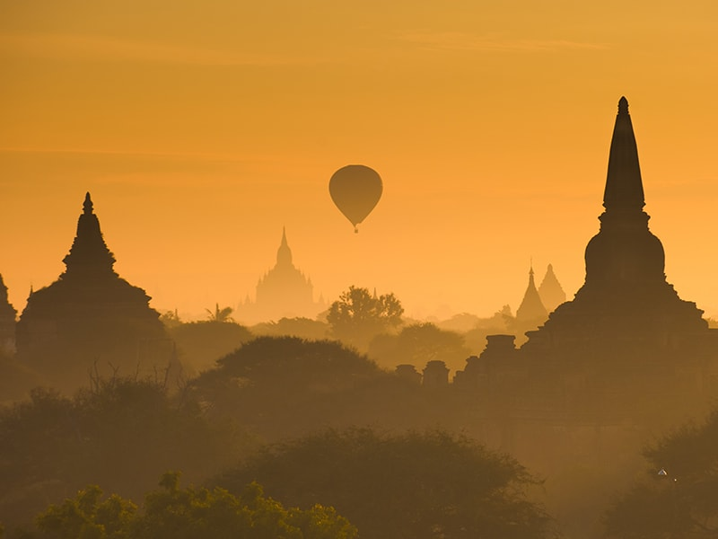 Myanmar. Sunrise in an air hot balloon