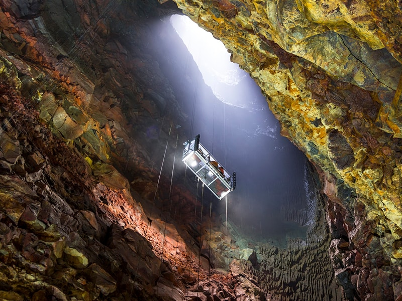 Iceland. Descend to the center of the earth