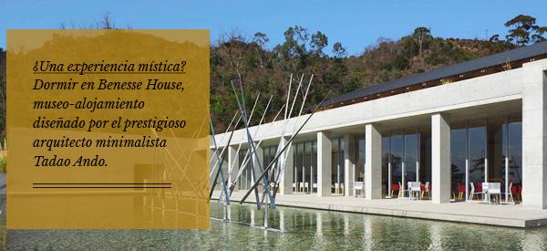 ¿Una experiencia mística? Dormir en Benesse House, museo-alojamiento diseñado por el prestigioso artista minimalista Tadao Ando.