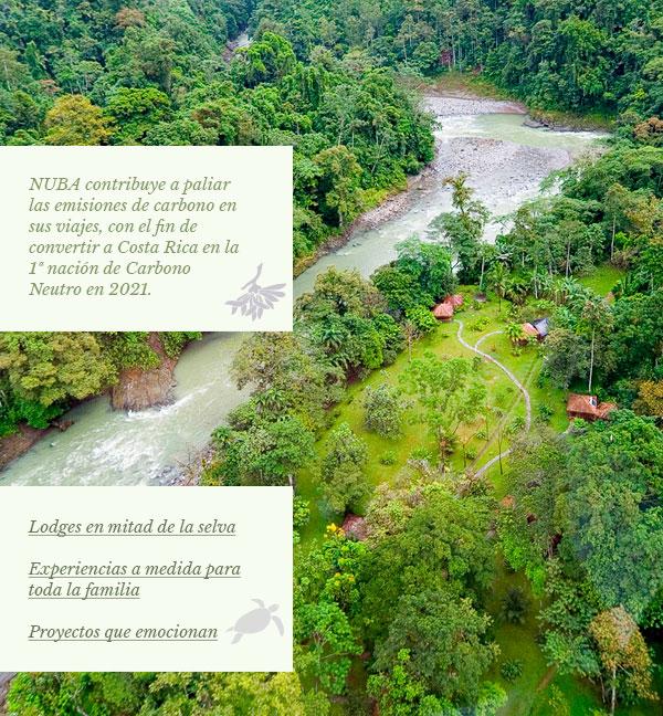 NUBA contribuye a contrarrestar las emisiones de carbono en sus viajes, con el fin de convertir a Costa Rica en la 1ª nación de Carbono Neutro en 2021. Lodges en mitad de la selva - Experiencias a medida para toda la familia - Proyectos que emocionan