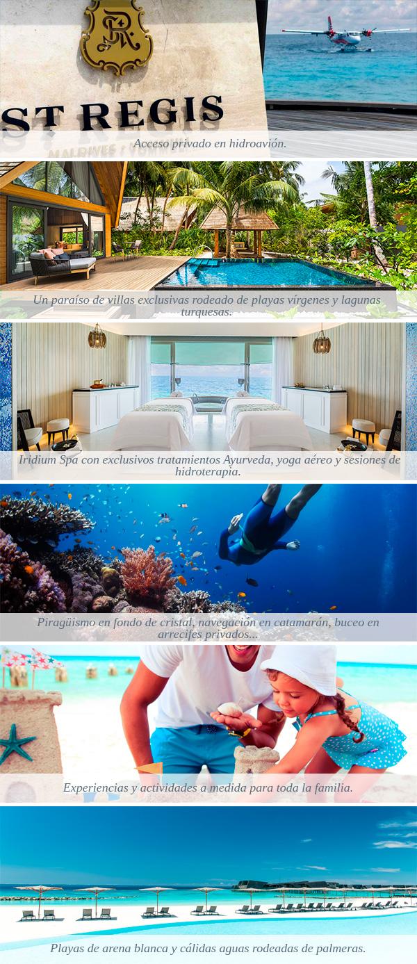 Acceso privado en hidroavión. Un paraíso de villas exclusivas rodeado de playas vírgenes y lagunas turquesas.  Experiencias y actividades a medida para toda la familia. Piragüismo en fondo de cristal, navegación en catamarán, buceo en arrecifes privados.