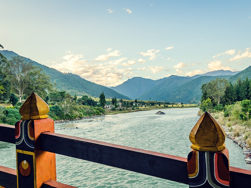 Bhutan. Rafting in Punakha through the area of Mo Chhu