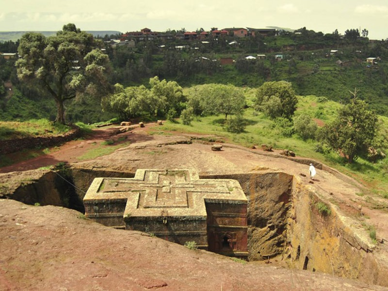 Ethiopia. Admire the majesty of the golden cross of Lalibela