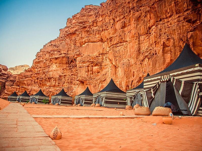 Jordan. Sleep in the desert of Wadi Rum