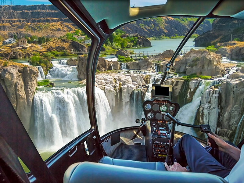 Canada. Fly over Niagara Falls by helicopter