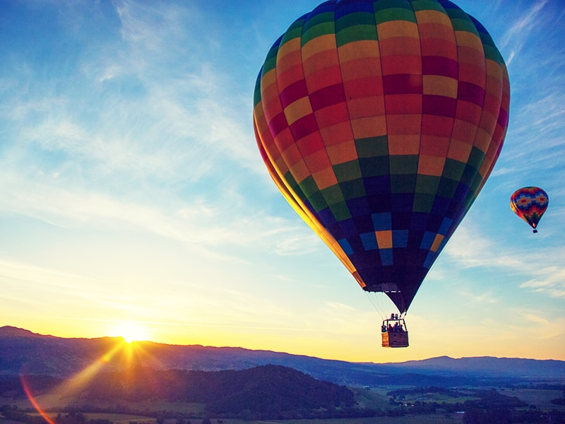 United States. Sunrise balloon flight over Napa Valley