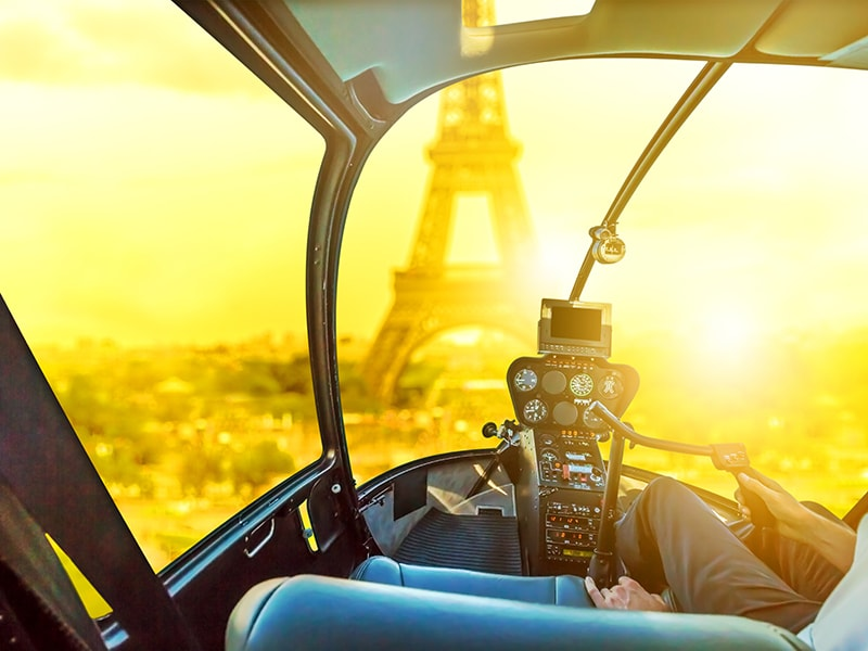 France. Fly over Paris in a helicopter