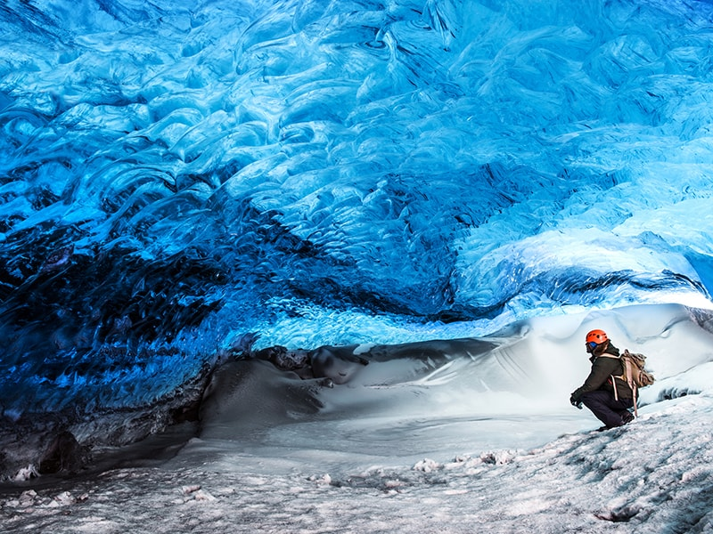 Iceland. Explore the ancient blue ice caves